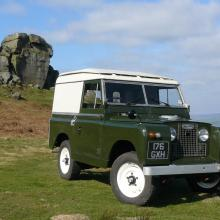 land rover series 2a for sale is on ilkley moors near the cow and calf rocks