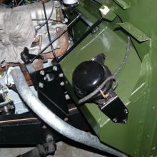 land rover series 2 early horn mounted on the foot well