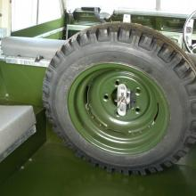 The land rover series 2 spare wheel was refitted in the back of the land rover