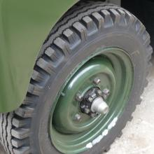 The original type land rover 600-16 tyre was sourced and fitted