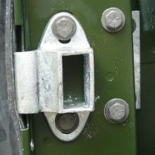 This is an unusual  land rover door striker with fixing bolts top and bottom
