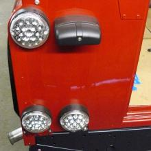 LED lamps on the back of a 300 tdi land rover 70th anniversary defender 90