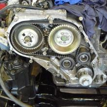 Here is a picture of a 300 tdi land rover engine timing belt and pulleys