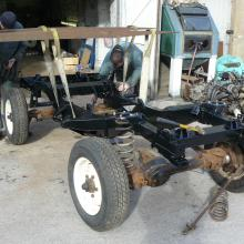 Here the chassis is being replaced on the V8 land rover 90