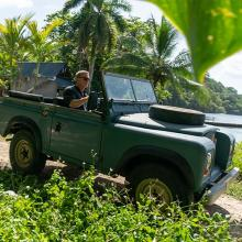 James Bond in a Series 3 Land Rover