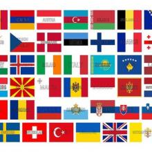 A display of all the European flags to indicate that we can export land rovers to Europe as well as rest of the world