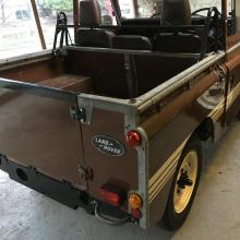 Land Rover Series three without roof inside our showroom