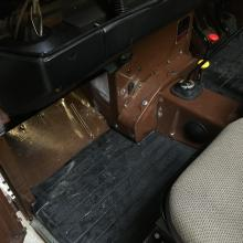 Footwells are in very good condition in the brown series 3 land rover