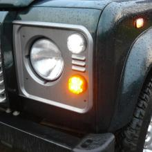 A defender with LED lamps fitted