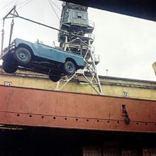 Here is a picture taken at Liverpool docks of a land rover from jake wright's being craned onto a waiting ship bound for Nigereia