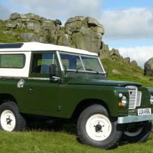 land rover series 2a 2.25 petrol now finished and seen at the famous cow and calf rocks on ilkley moor