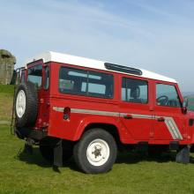 REAR SIDE VIEW OF THE LAND ROVER TAKEN AT THE COW AND CALF ROCKS