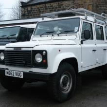 The completed land rover is now outside the workshop