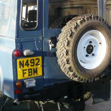 110 300 tdi land rover showing the rear door and spare wheel