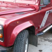 The picture shows the front left hand wing of the land rover defender county