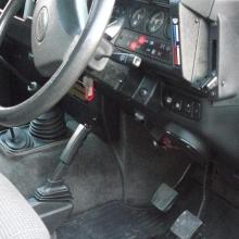 The interior of the land rover at the drivers side