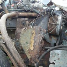 land rover series one station wagon with the corroded bulkhead and engine