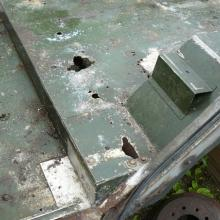 the 107 land rover station wagon rear floor was badly corroded due to electrollosis