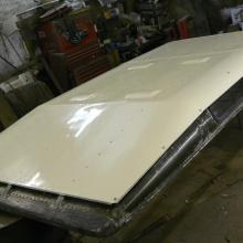 land rover series one 107 tropical roof panel was repainted inn the correct shade