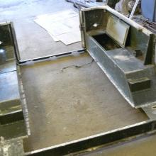 land rover 107 rear body having a replacement rear floor fitted