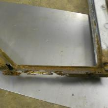 The land rover 107 rear side door frames were badly corroded so a jig was made in order to make new ones
