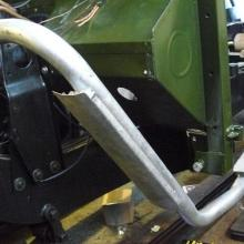A land rover series one exhaust was used and new heat shields were fitted prior to galvanising