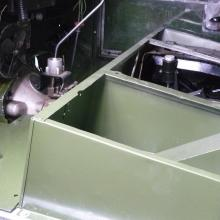 land rover 107 seat box now painted bronze green and in position