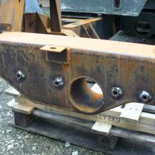 landrover chassis front x member showing the tubes welded in position which can be used to fit a front mounted winch