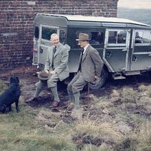 The archive picture of the land rover 107  on the grouse moors at Widdup near Hebden Bridge  with Lord Savile  and his estate manager.