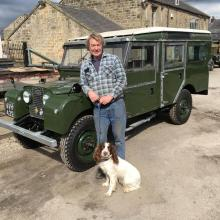 LAND ROVER SERIES one 107  AT JAKE WRIGHT after undergoing a 3 year restoration carried out by myself,john wright in my spare time . The 107 land rover  is seen here after its first test drive with John wright and lola my springer spanniel at jake wright