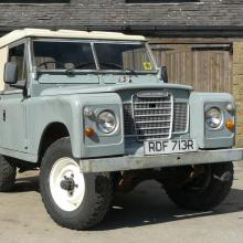 "The land rover series 3 , 88"" short wheelbase land rover is in the sunshine at Jake Wright's"