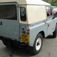 Rear end view of the land rover series 3 diesel shot wheel base