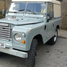 The series 3 land rover diesel outside the workshop of Jake Wright's
