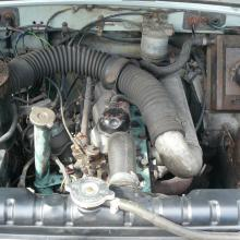 The land rover series 3, 2.25 diesel engine under the bonnet .