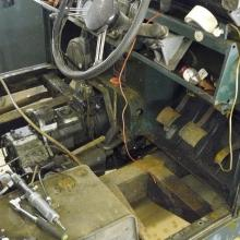 Land Rover series 2 interior with the floor panels removed