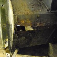 Land rover series 2 footwell showing the corrosion