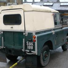 Land rover series 2 rear showing the lift up tail door