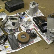The Land rover series 2 gearbox rebuild was carried out and here are the pieces