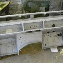 The land rover bulkhead is seen here after sand blasting