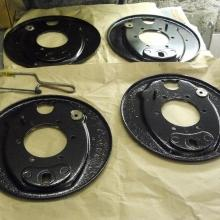 The land rover brake back plates were blasted and powder coated