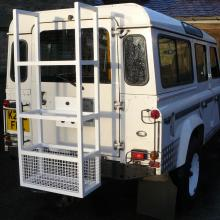 A special land rover ski carrier made and fitted at Jake Wrights's on the back of a 110 land rover before going to switzerland