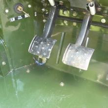 Land rover lightweight footwell showing pedals