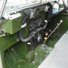 The interior of the lightweight land rover is very original