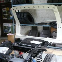 The range rover classic rear end frame has now been painted ready for fitting