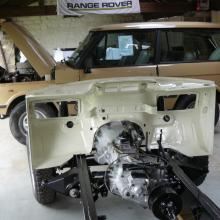 The range rover classic now has its painted bulkhead fitted seen here in our showroom