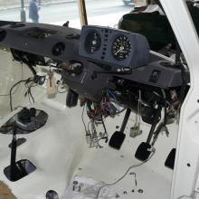 The range rover 2 door dashboard and bulkhead with pedals fitted