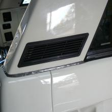 The range rover 2 door rear 1/4 panel has now got the black ventilators fitted