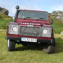 another view of the land rover double cab near the cow and calf rocks at Ilkley , west yorkshire