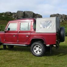 Here is the other side view of the red land rover double cab pick up on Ilkley moors