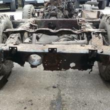 land rover series 2a showing a very rusty rear chassis cross member